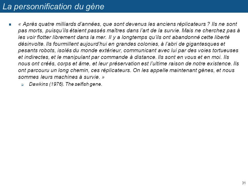 La personnification du gène « Après quatre milliards dannées, que sont devenus les anciens réplicateurs ? Ils ne sont pas morts, puisquils étaient pas