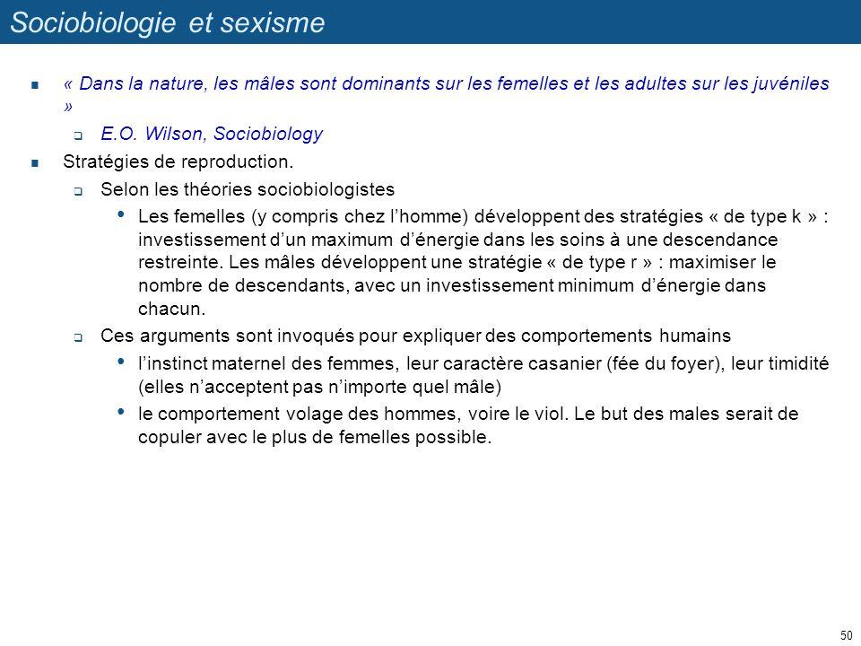 Sociobiologie et sexisme « Dans la nature, les mâles sont dominants sur les femelles et les adultes sur les juvéniles » E.O. Wilson, Sociobiology Stra