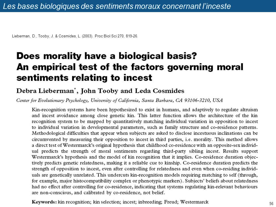Les bases biologiques des sentiments moraux concernant linceste 56 Lieberman, D., Tooby, J. & Cosmides, L. (2003). Proc Biol Sci 270, 819-26.