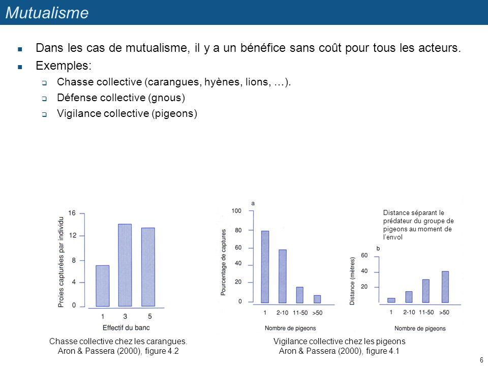 Chasse collective chez les carangues. Aron & Passera (2000), figure 4.2 Vigilance collective chez les pigeons Aron & Passera (2000), figure 4.1 Distan