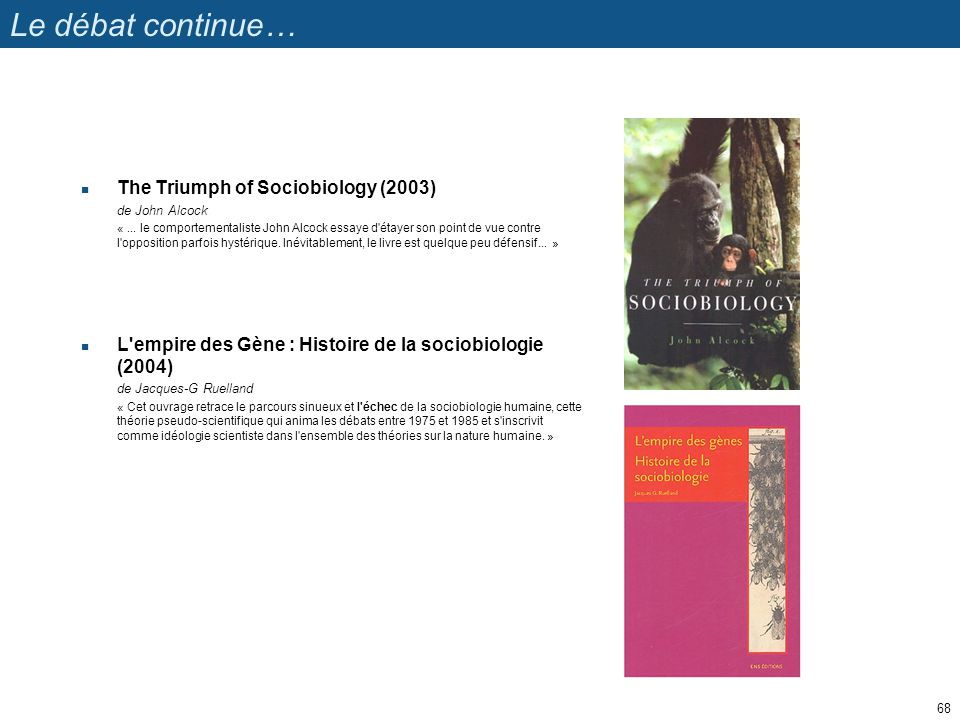 Le débat continue… The Triumph of Sociobiology (2003) de John Alcock «...