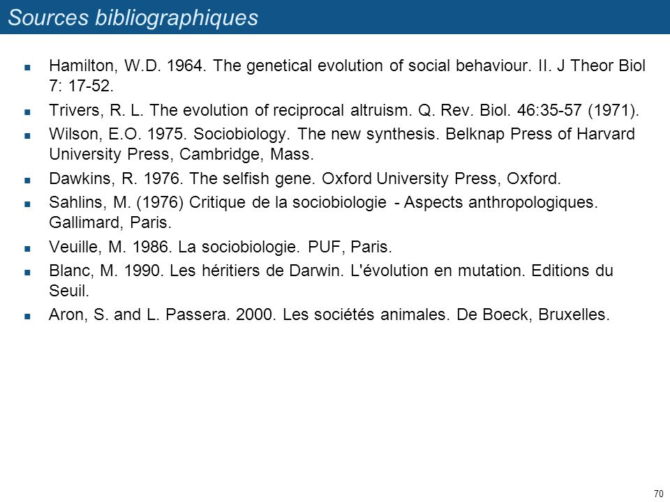 Sources bibliographiques Hamilton, W.D.1964. The genetical evolution of social behaviour.