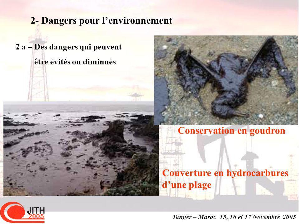 Tanger – Maroc 15, 16 et 17 Novembre 2005 Conservation en goudron Couverture en hydrocarbures dune plage 2 a – Des dangers qui peuvent être évités ou diminués 2- Dangers pour lenvironnement