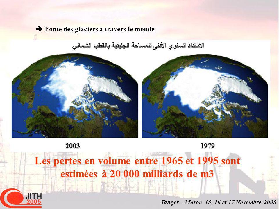 Tanger – Maroc 15, 16 et 17 Novembre 2005 Les pertes en volume entre 1965 et 1995 sont estimées à 20 000 milliards de m3 Fonte des glaciers à travers le monde