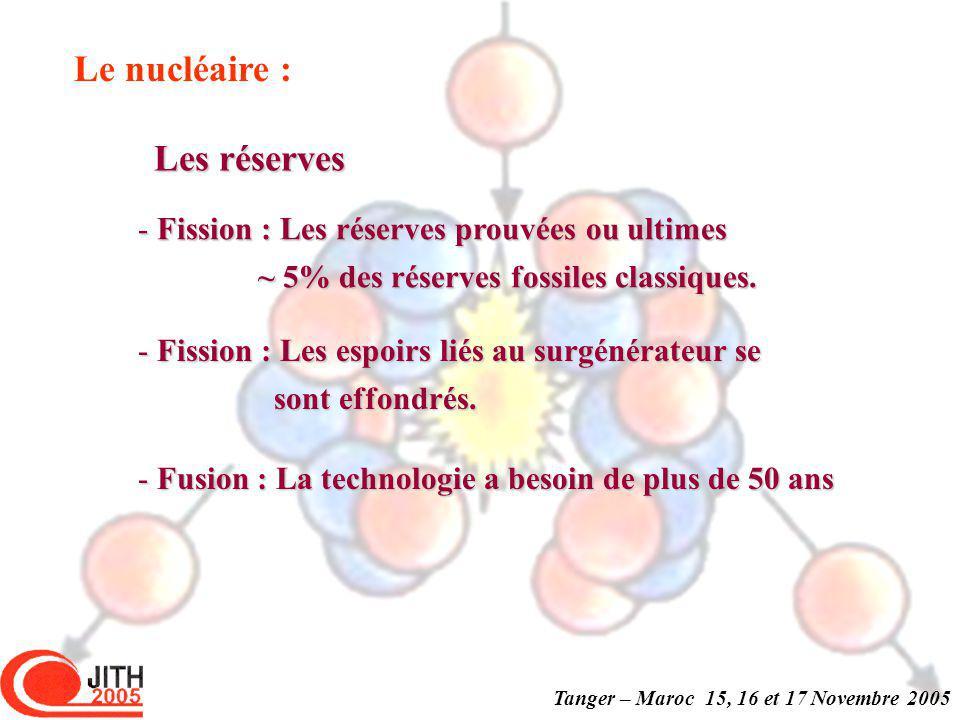 Tanger – Maroc 15, 16 et 17 Novembre 2005 Le nucléaire : - Fission : Les réserves prouvées ou ultimes ~ 5% des réserves fossiles classiques.