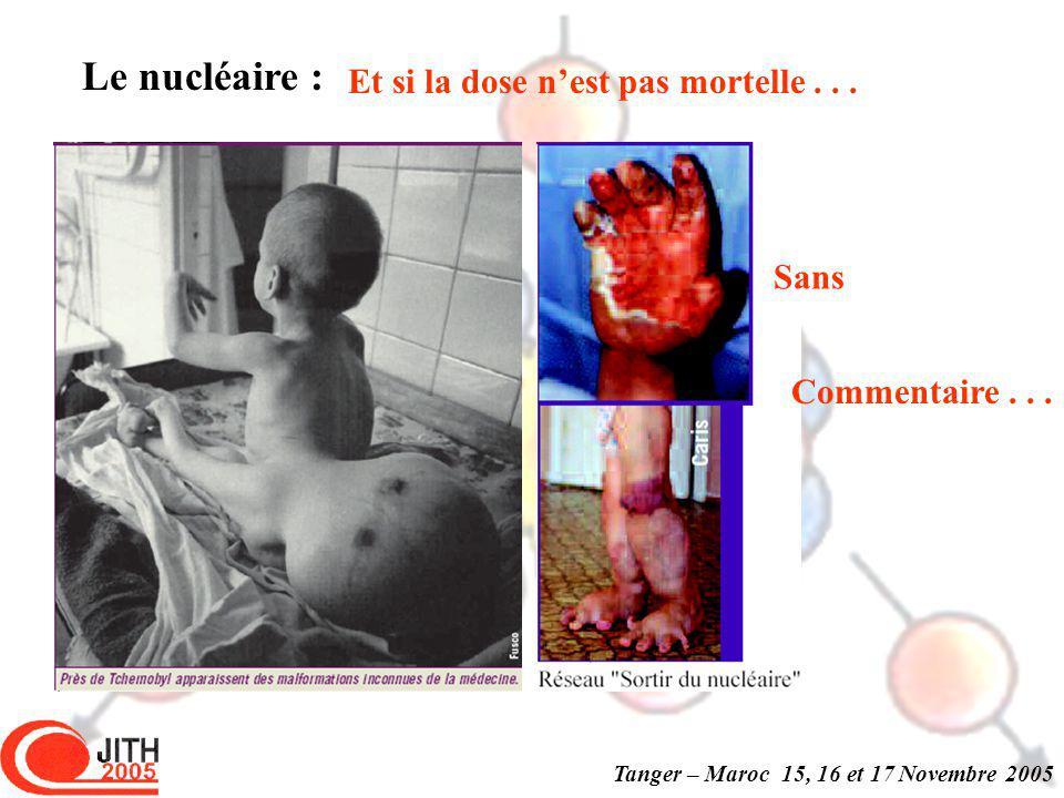 Tanger – Maroc 15, 16 et 17 Novembre 2005 Le nucléaire : Et si la dose nest pas mortelle...