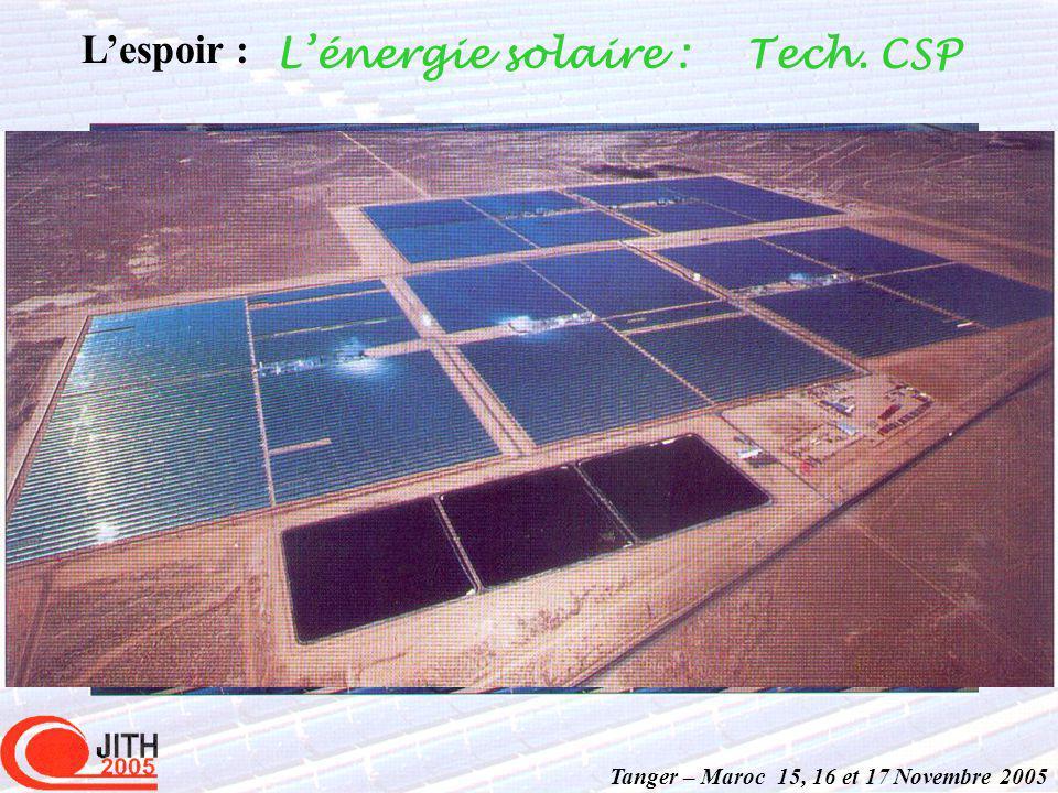 Tanger – Maroc 15, 16 et 17 Novembre 2005 Lespoir : Lénergie solaire :Tech. CSP