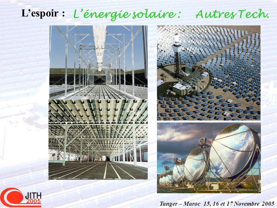 Tanger – Maroc 15, 16 et 17 Novembre 2005 Autres Tech. Lespoir : Lénergie solaire :