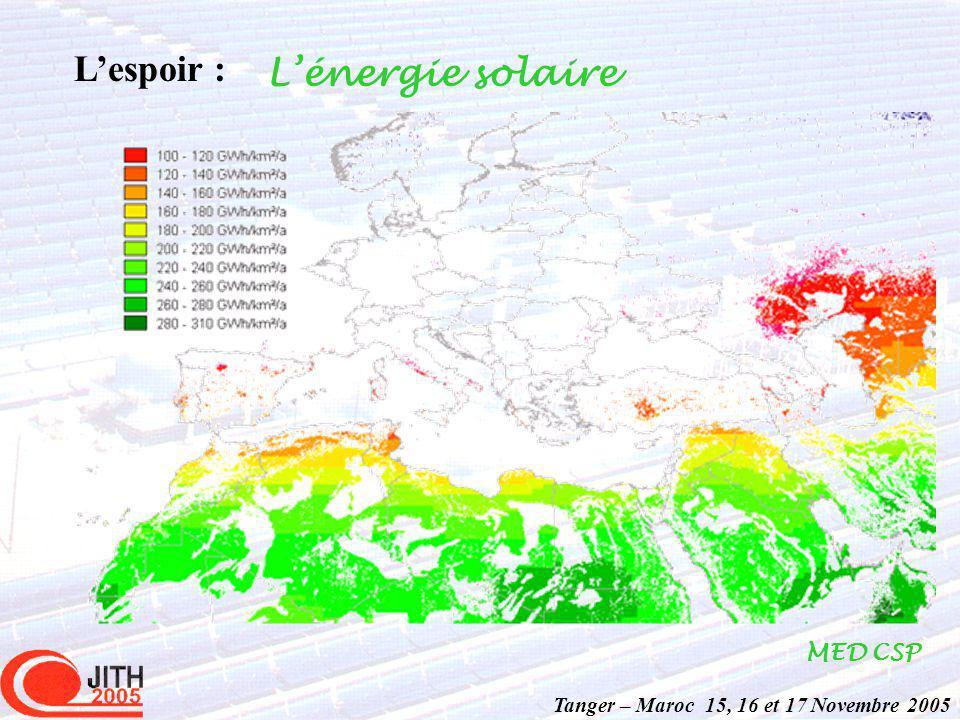 Tanger – Maroc 15, 16 et 17 Novembre 2005 Lespoir : Lénergie solaire MED CSP