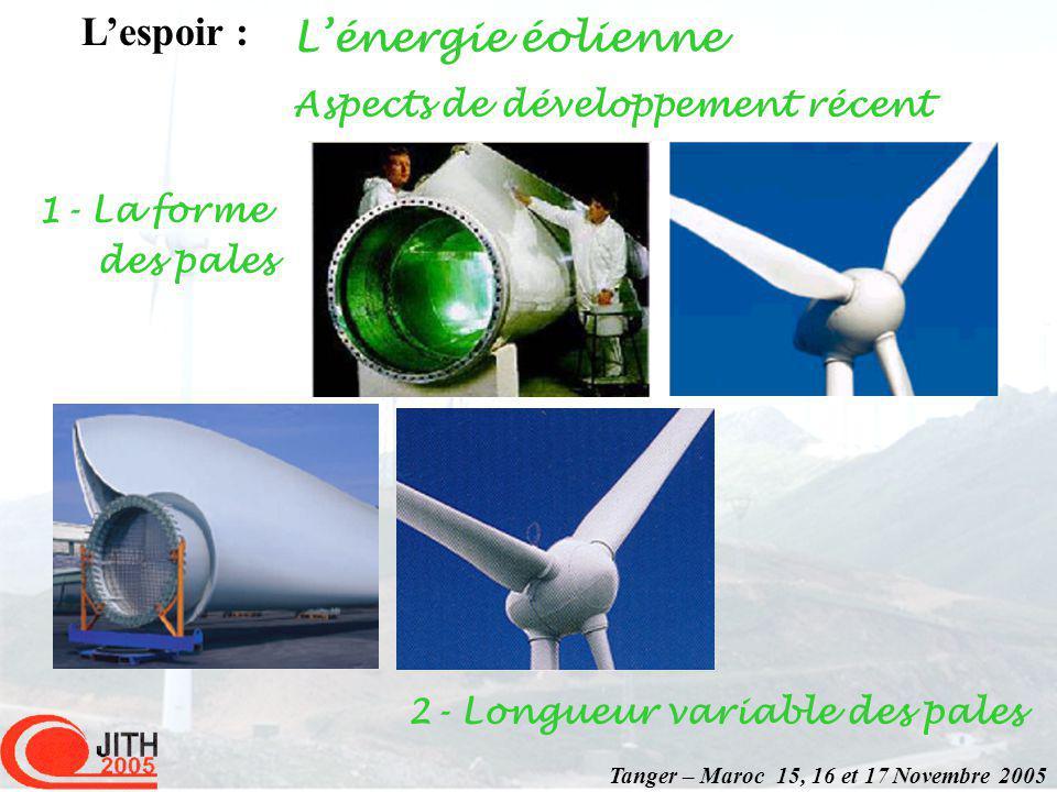 Lénergie éolienne Lespoir : Tanger – Maroc 15, 16 et 17 Novembre 2005 Aspects de développement récent 1- La forme des pales 2- Longueur variable des pales