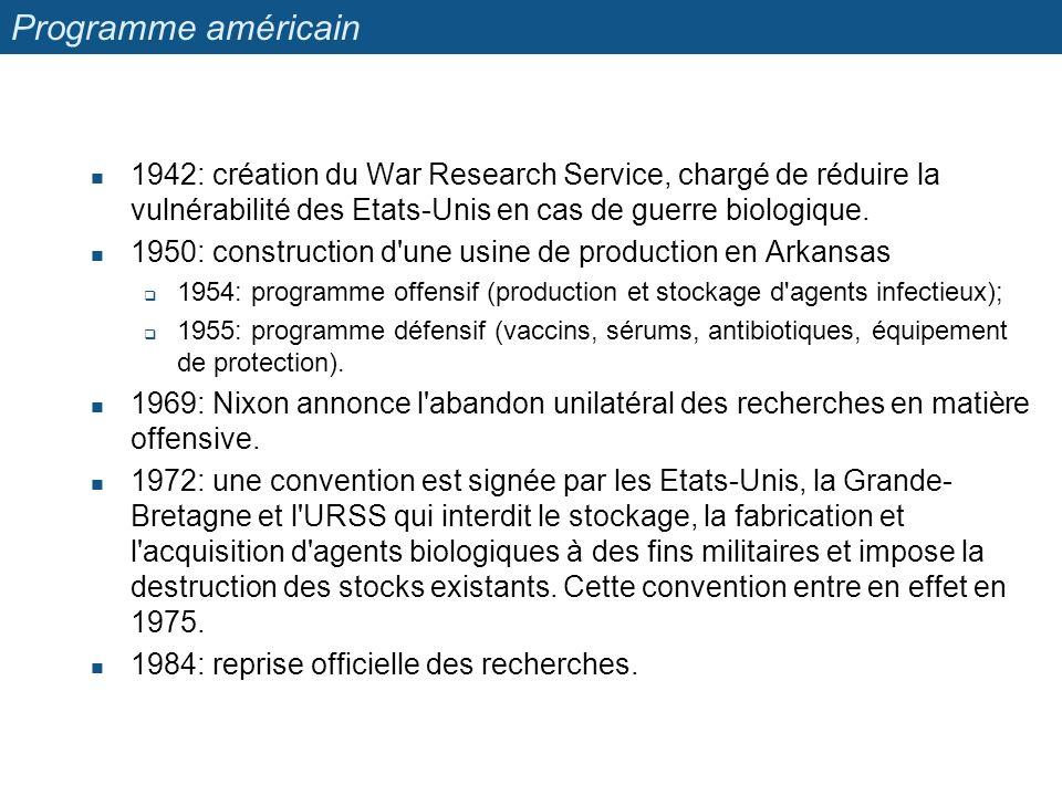 Programme américain 1942: création du War Research Service, chargé de réduire la vulnérabilité des Etats-Unis en cas de guerre biologique. 1950: const