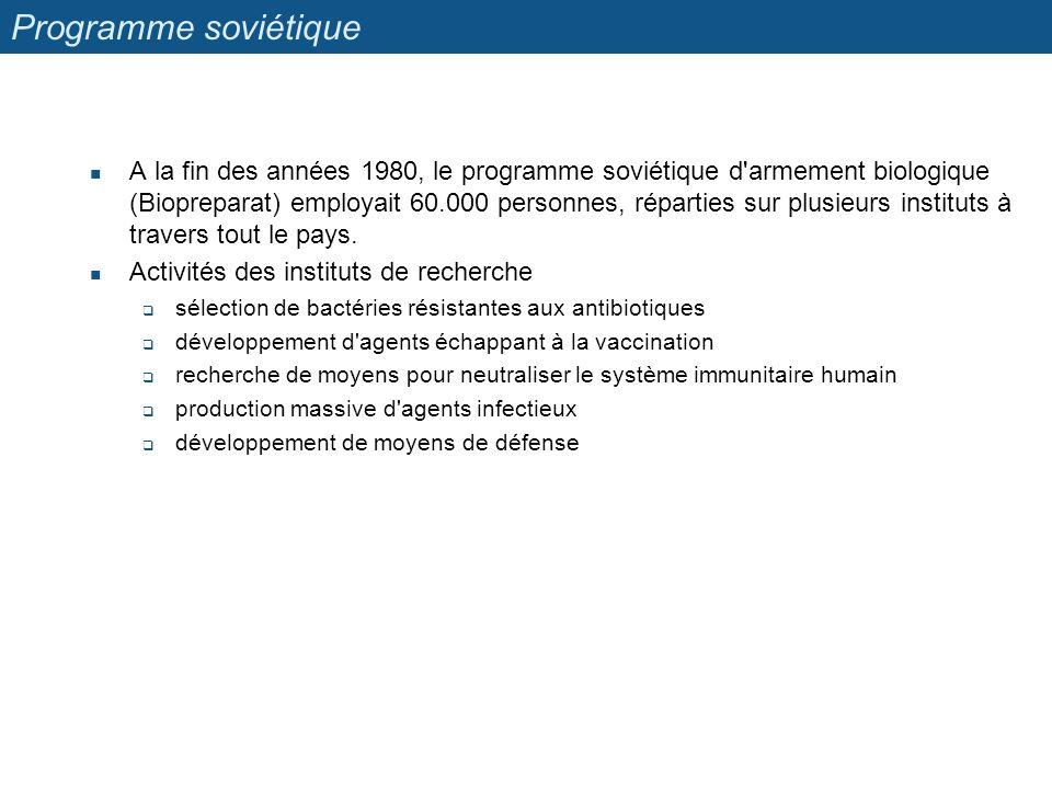 Programme soviétique A la fin des années 1980, le programme soviétique d'armement biologique (Biopreparat) employait 60.000 personnes, réparties sur p