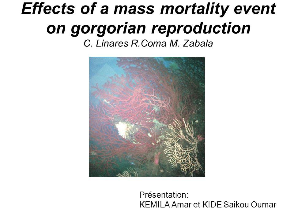 2000 2001 Résultats Biomasse des gonades (mgC/polype) Etendue des dommages Fig.