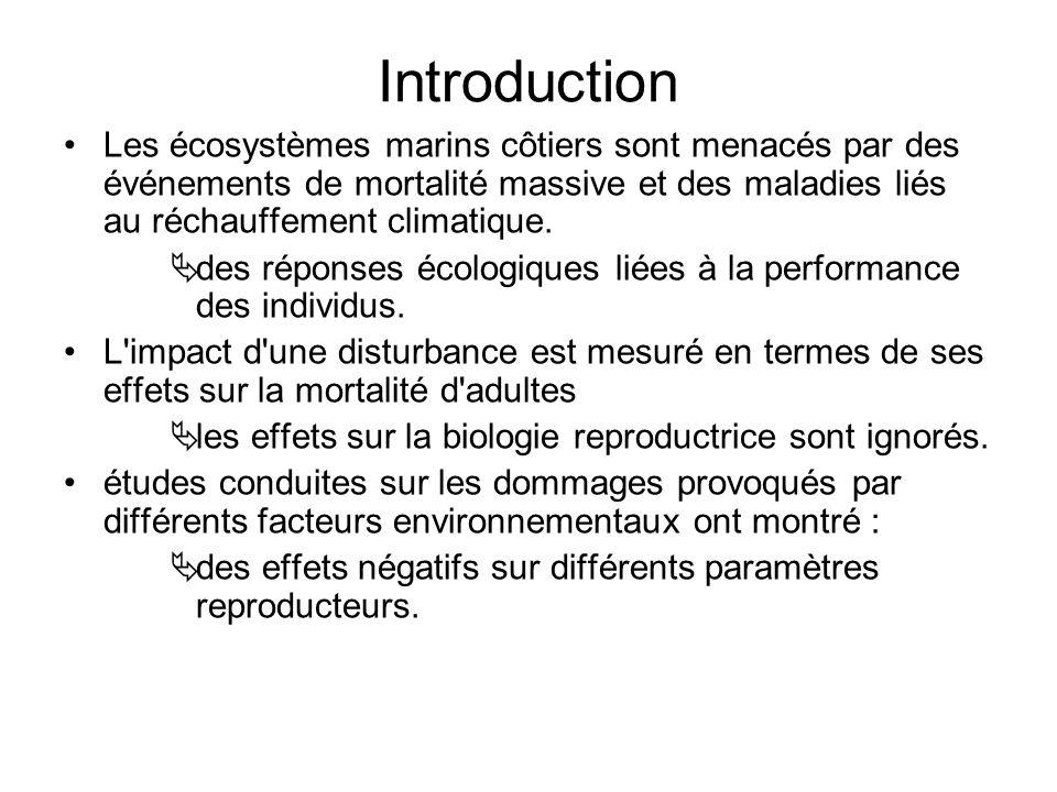 Introduction Les écosystèmes marins côtiers sont menacés par des événements de mortalité massive et des maladies liés au réchauffement climatique.