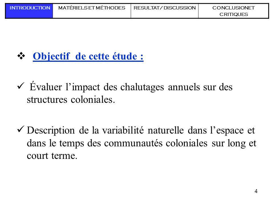 4 Objectif de cette étude : Évaluer limpact des chalutages annuels sur des structures coloniales. Description de la variabilité naturelle dans lespace