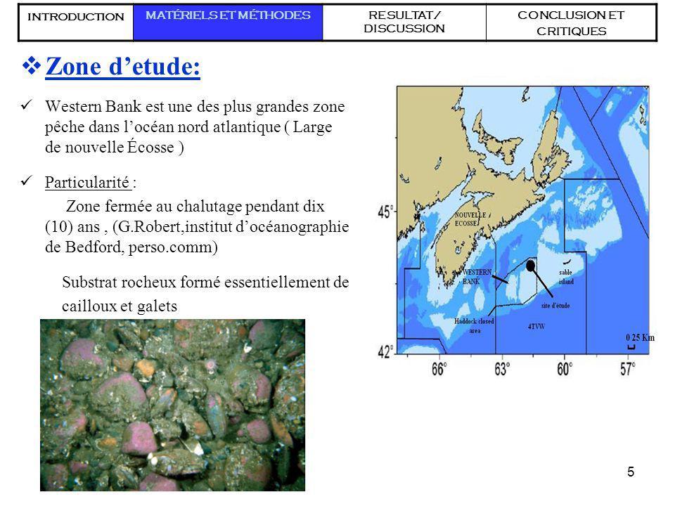 5 Zone detude: Western Bank est une des plus grandes zone pêche dans locéan nord atlantique ( Large de nouvelle Écosse ) Particularité : Zone fermée a
