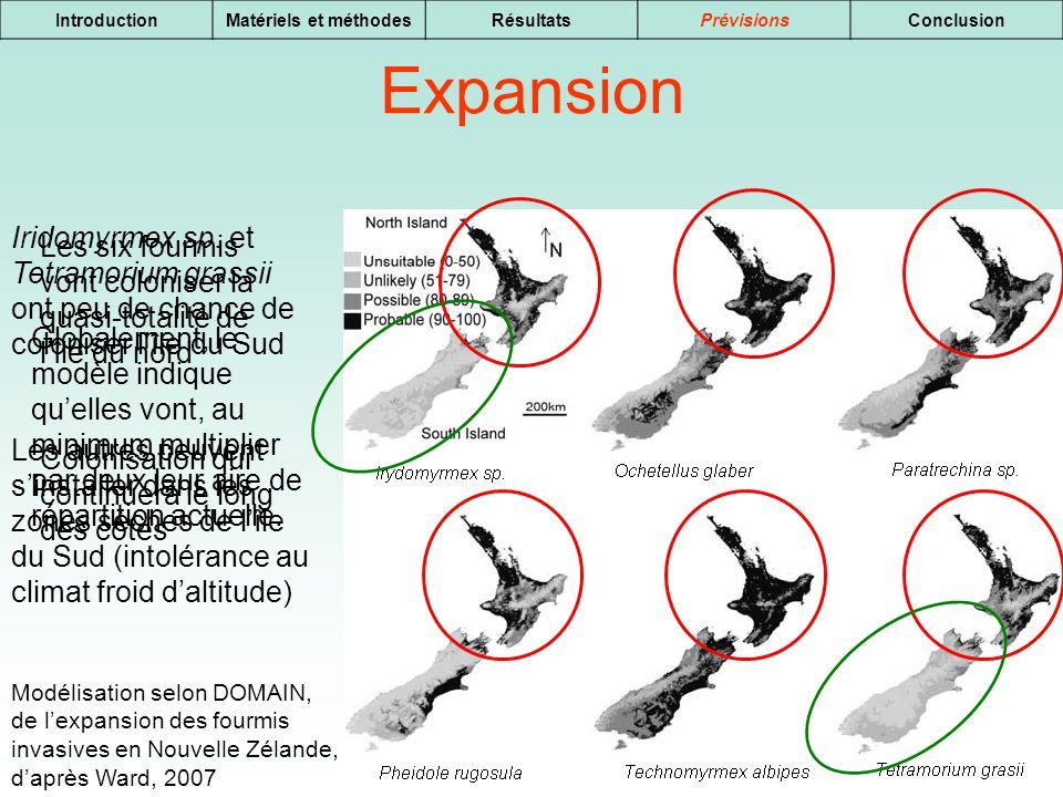 15 IntroductionMatériels et méthodesRésultatsPrévisionsConclusion Expansion Modélisation selon DOMAIN, de lexpansion des fourmis invasives en Nouvelle
