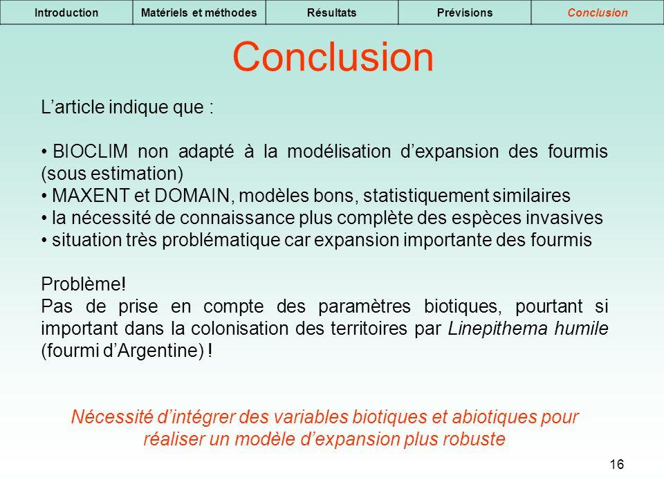 16 IntroductionMatériels et méthodesRésultatsPrévisionsConclusion Larticle indique que : BIOCLIM non adapté à la modélisation dexpansion des fourmis (