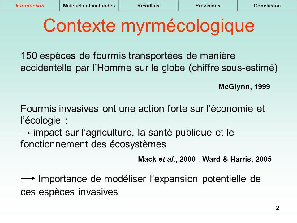 2 IntroductionMatériels et méthodesRésultatsPrévisionsConclusion 150 espèces de fourmis transportées de manière accidentelle par lHomme sur le globe (