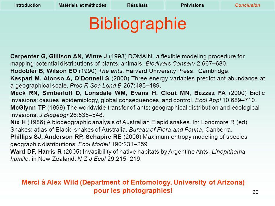 20 IntroductionMatériels et méthodesRésultatsPrévisionsConclusion Bibliographie Carpenter G, Gillison AN, Winte J (1993) DOMAIN: a flexible modeling p