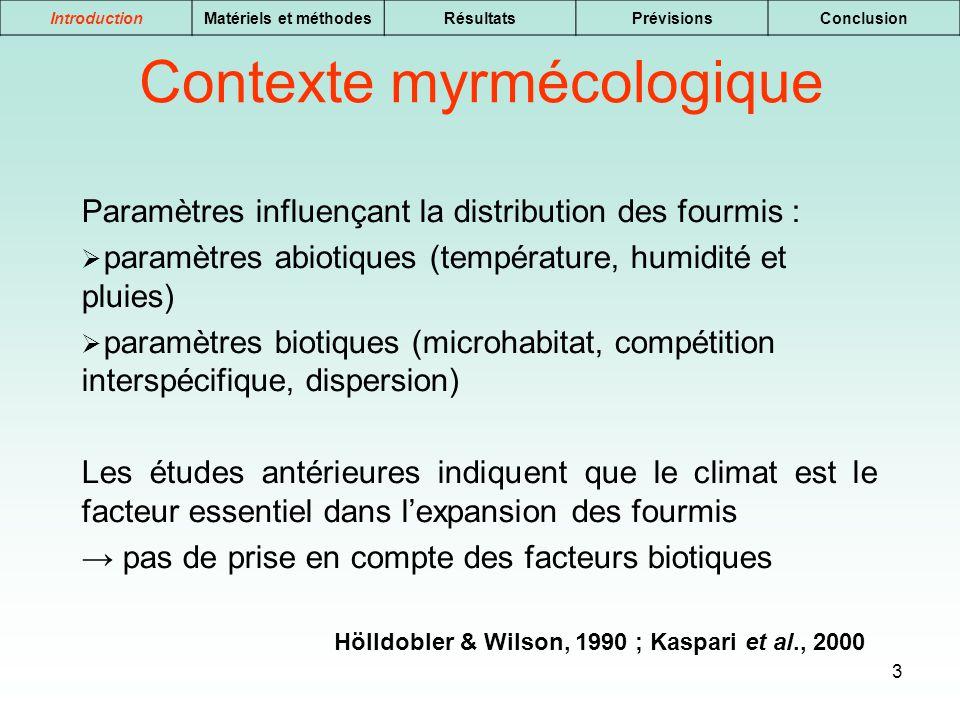 3 IntroductionMatériels et méthodesRésultatsPrévisionsConclusion Paramètres influençant la distribution des fourmis : paramètres abiotiques (températu