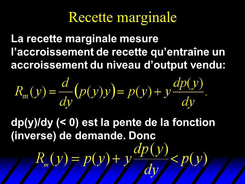 Recette marginale La recette marginale mesure laccroissement de recette quentraîne un accroissement du niveau doutput vendu: dp(y)/dy (< 0) est la pen