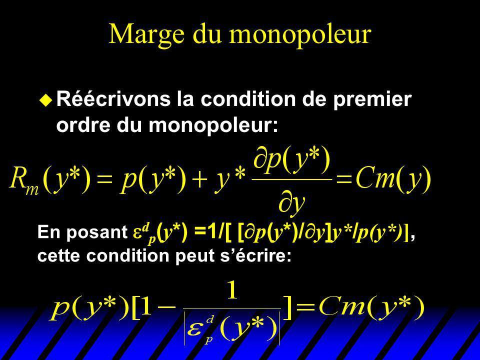 Marge du monopoleur u Réécrivons la condition de premier ordre du monopoleur: En posant d p ( y *) =1/[ [ p ( y *)/ y ] y* / p(y*)], cette condition p