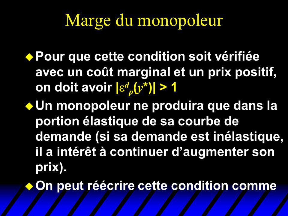 Marge du monopoleur Pour que cette condition soit vérifiée avec un coût marginal et un prix positif, on doit avoir | d p ( y *)| > 1 u Un monopoleur ne produira que dans la portion élastique de sa courbe de demande (si sa demande est inélastique, il a intérêt à continuer daugmenter son prix).