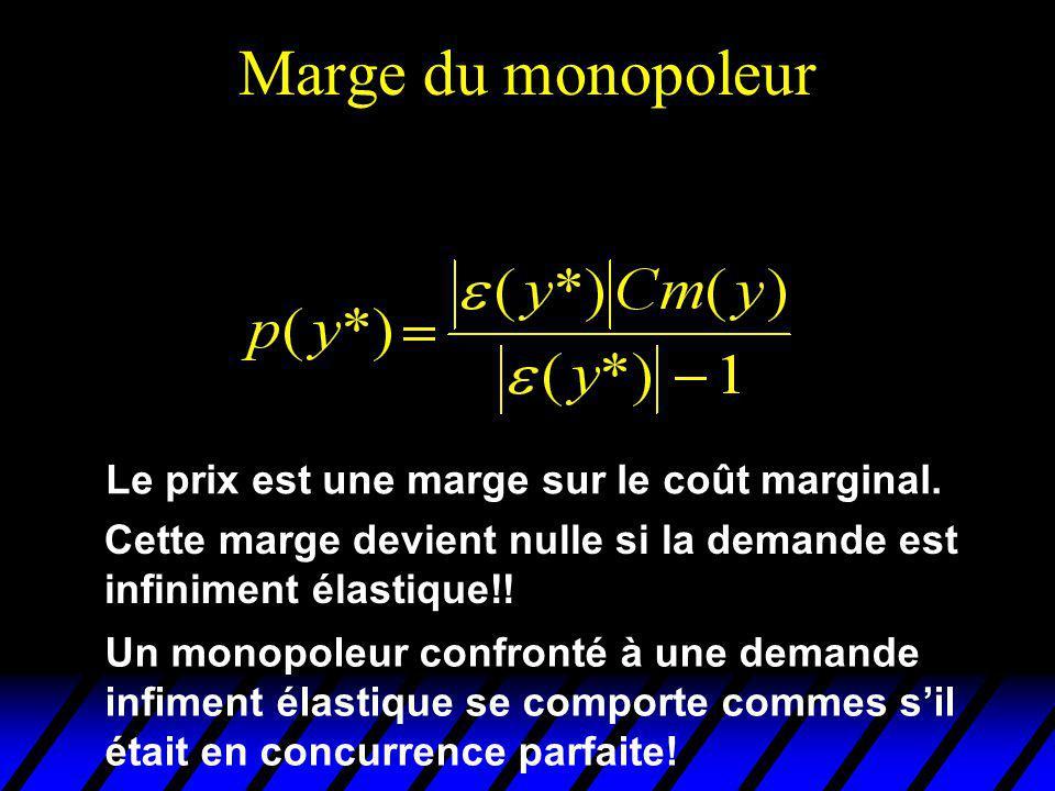 Marge du monopoleur Le prix est une marge sur le coût marginal. Cette marge devient nulle si la demande est infiniment élastique!! Un monopoleur confr