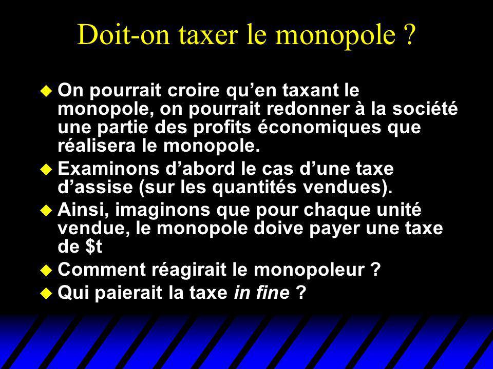 Doit-on taxer le monopole ? u On pourrait croire quen taxant le monopole, on pourrait redonner à la société une partie des profits économiques que réa