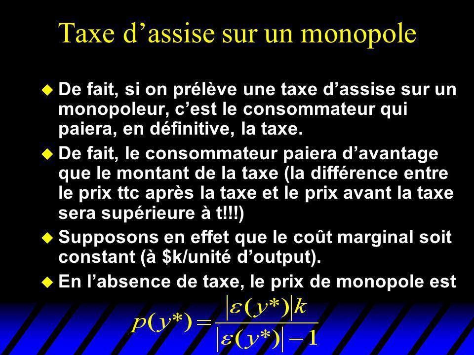 Taxe dassise sur un monopole u De fait, si on prélève une taxe dassise sur un monopoleur, cest le consommateur qui paiera, en définitive, la taxe. u D