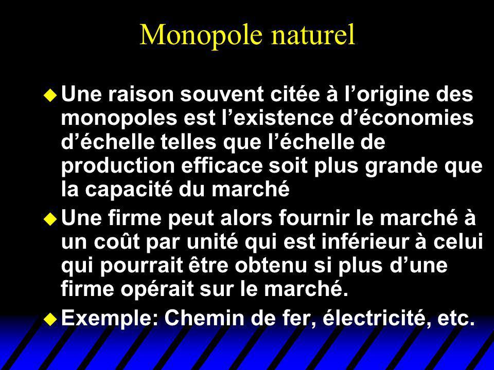 Monopole naturel u Une raison souvent citée à lorigine des monopoles est lexistence déconomies déchelle telles que léchelle de production efficace soi