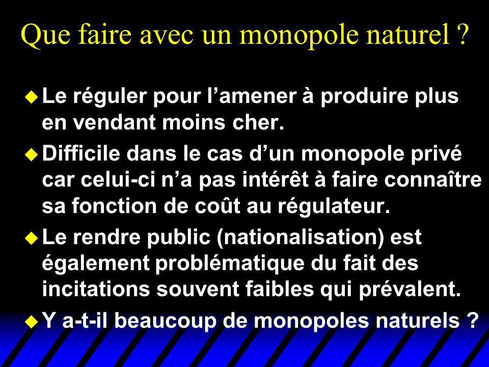 Que faire avec un monopole naturel ? u Le réguler pour lamener à produire plus en vendant moins cher. u Difficile dans le cas dun monopole privé car c
