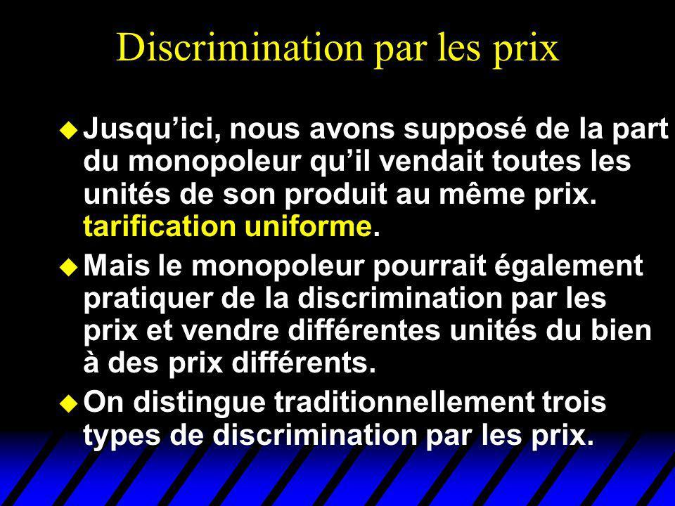 Discrimination par les prix u Jusquici, nous avons supposé de la part du monopoleur quil vendait toutes les unités de son produit au même prix. tarifi