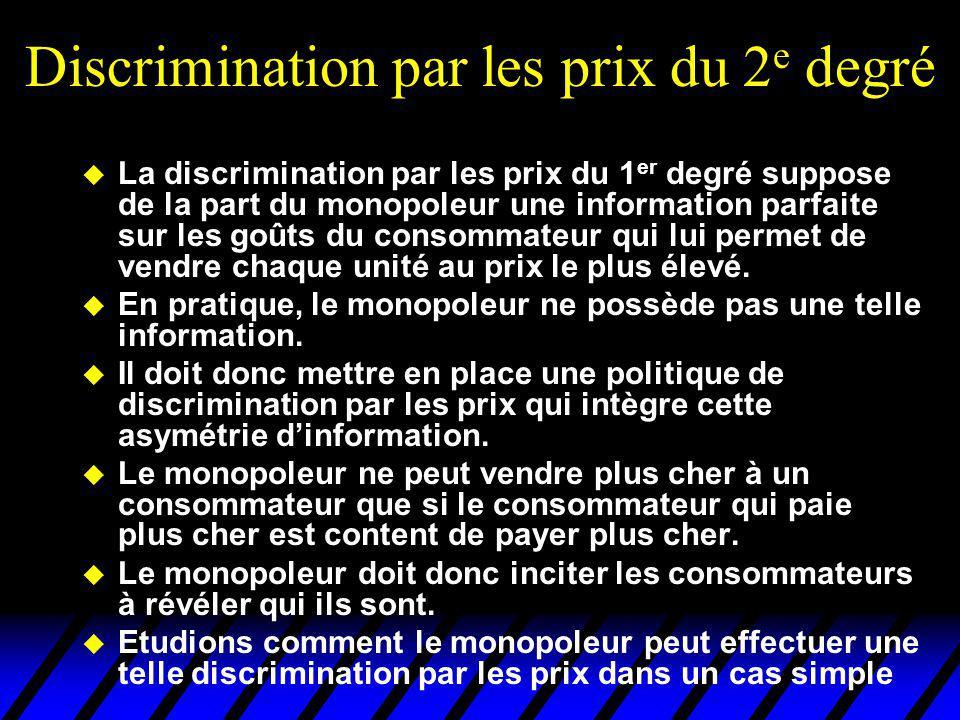 Discrimination par les prix du 2 e degré u La discrimination par les prix du 1 er degré suppose de la part du monopoleur une information parfaite sur