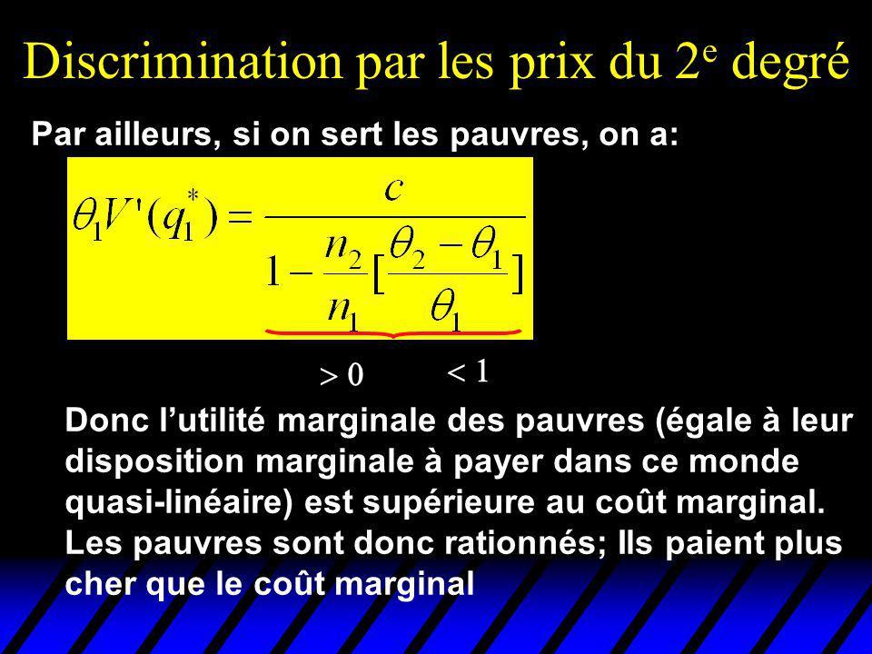 Discrimination par les prix du 2 e degré Donc lutilité marginale des pauvres (égale à leur disposition marginale à payer dans ce monde quasi-linéaire) est supérieure au coût marginal.