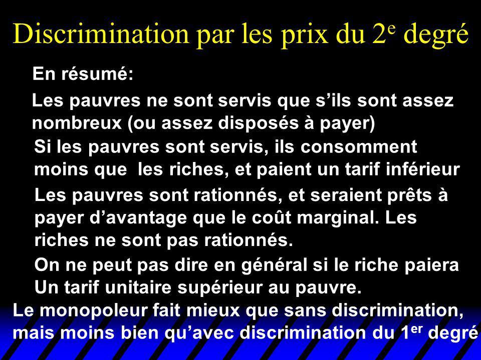 Discrimination par les prix du 2 e degré Les pauvres ne sont servis que sils sont assez nombreux (ou assez disposés à payer) En résumé: On ne peut pas dire en général si le riche paiera Un tarif unitaire supérieur au pauvre.