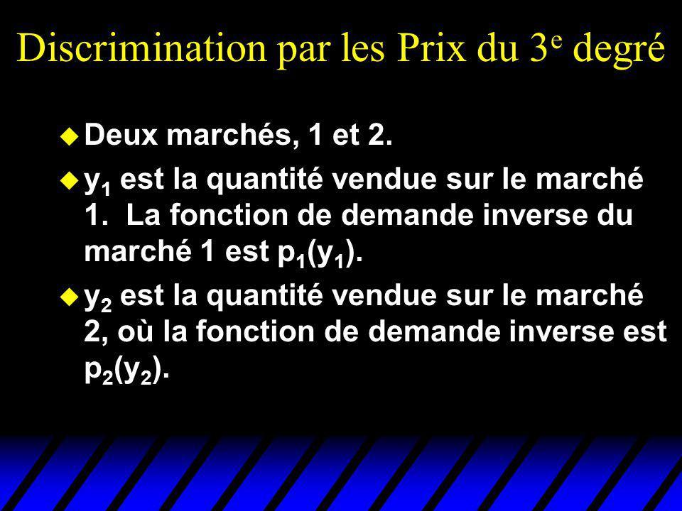 Discrimination par les Prix du 3 e degré u Deux marchés, 1 et 2. u y 1 est la quantité vendue sur le marché 1. La fonction de demande inverse du march