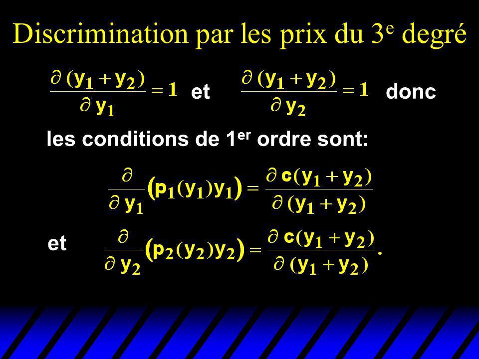 Discrimination par les prix du 3 e degré etdonc les conditions de 1 er ordre sont: et