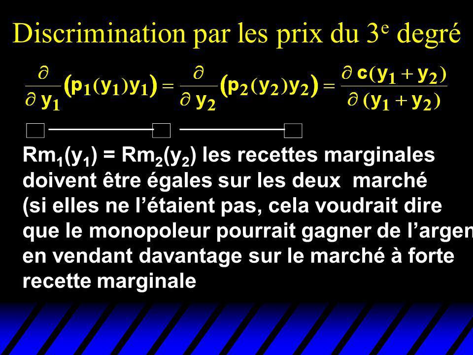 Rm 1 (y 1 ) = Rm 2 (y 2 ) les recettes marginales doivent être égales sur les deux marché (si elles ne létaient pas, cela voudrait dire que le monopol