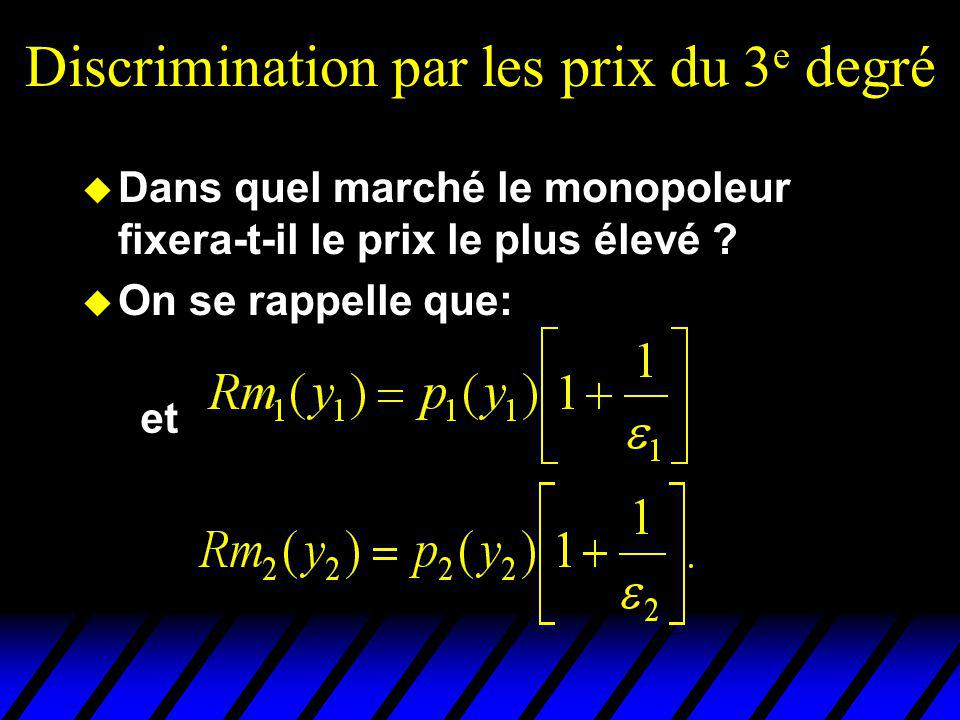 Discrimination par les prix du 3 e degré u Dans quel marché le monopoleur fixera-t-il le prix le plus élevé ? u On se rappelle que: et