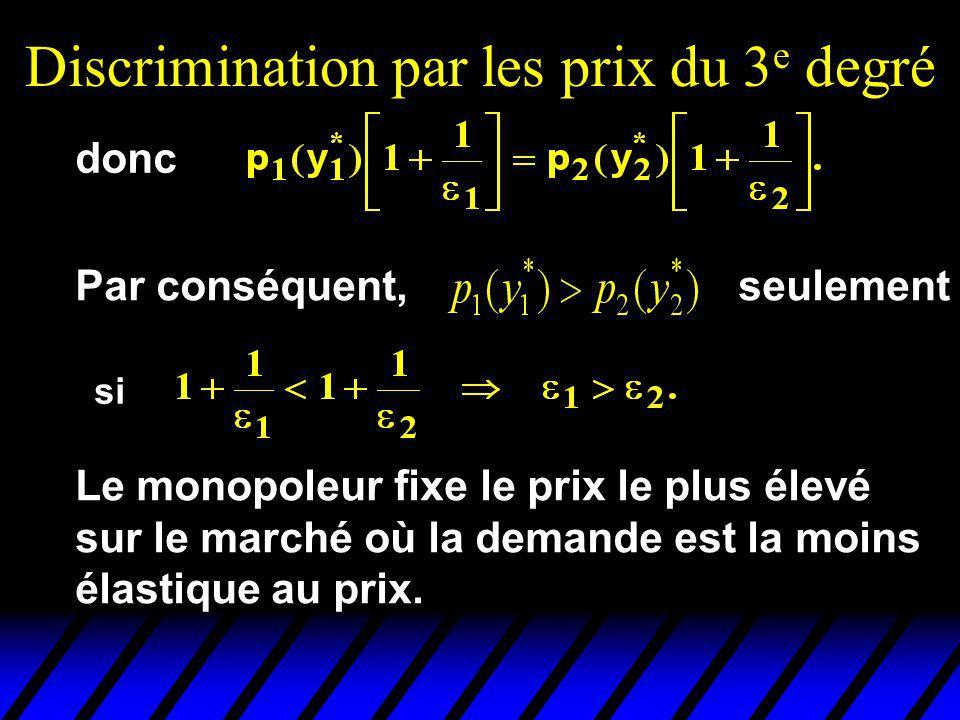 Discrimination par les prix du 3 e degré donc Par conséquent, seulement si Le monopoleur fixe le prix le plus élevé sur le marché où la demande est la