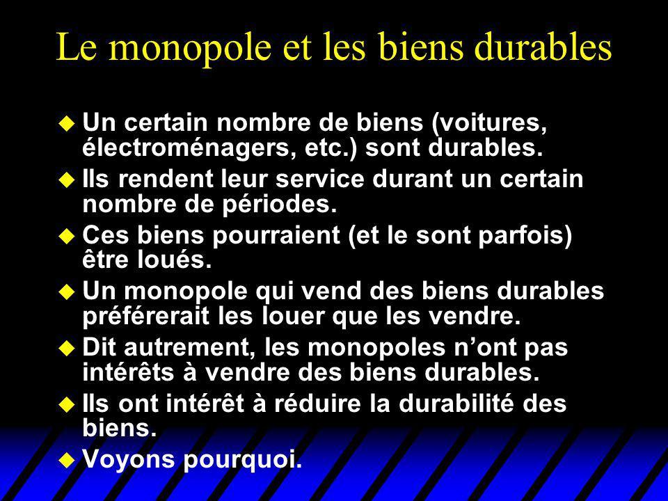 Le monopole et les biens durables u Un certain nombre de biens (voitures, électroménagers, etc.) sont durables. u Ils rendent leur service durant un c