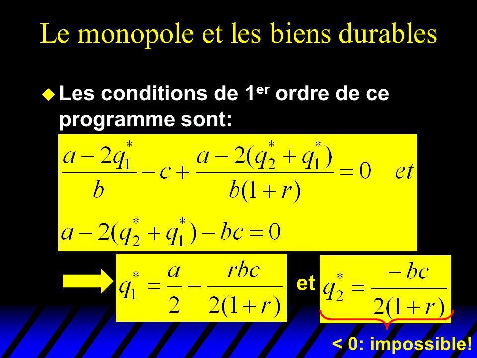 Le monopole et les biens durables u Les conditions de 1 er ordre de ce programme sont: et < 0: impossible!