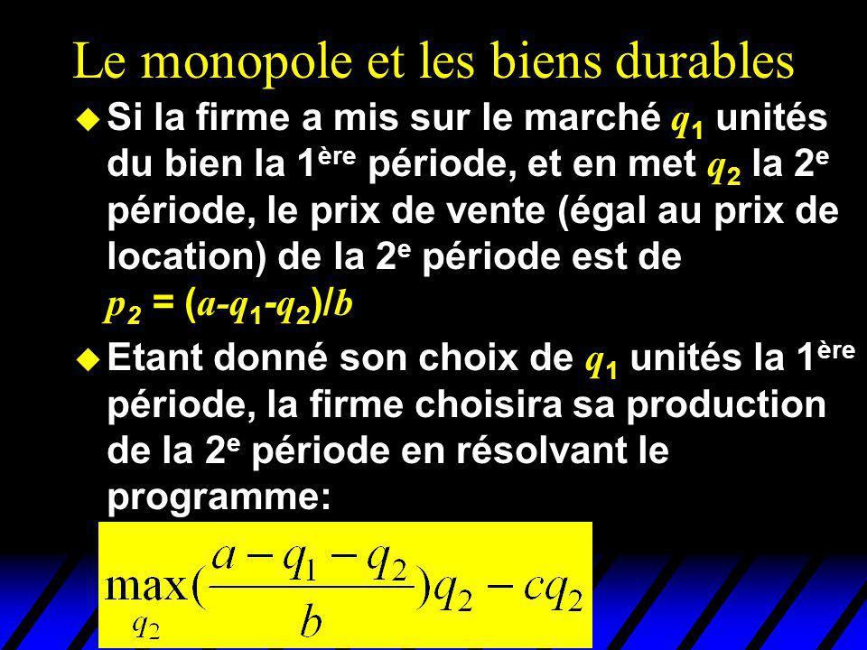 Le monopole et les biens durables Si la firme a mis sur le marché q 1 unités du bien la 1 ère période, et en met q 2 la 2 e période, le prix de vente