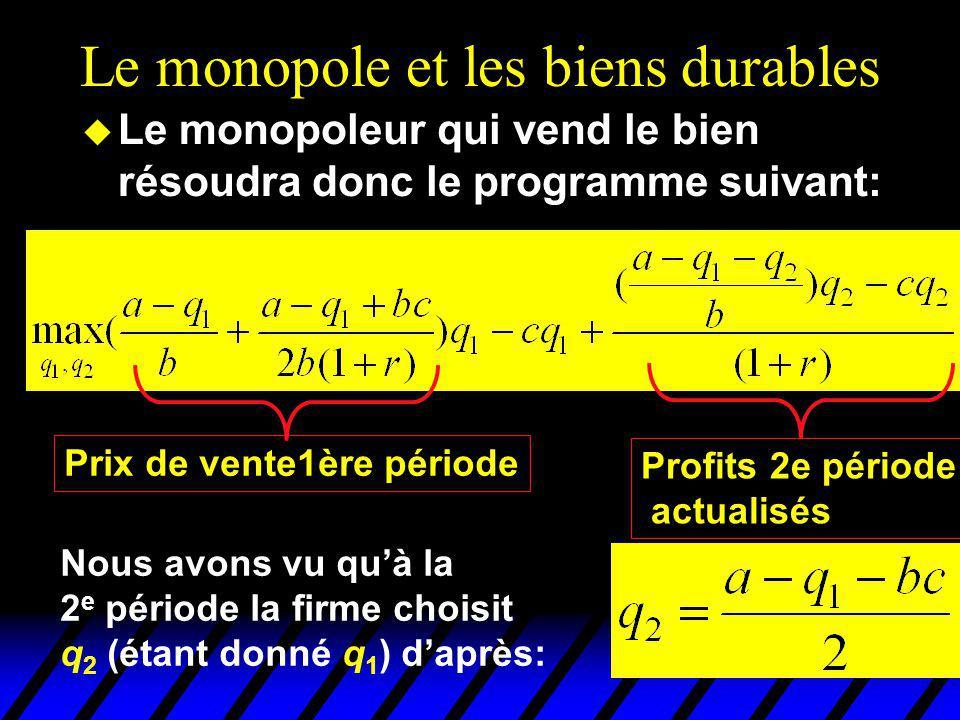 Le monopole et les biens durables u Le monopoleur qui vend le bien résoudra donc le programme suivant: Prix de vente1ère période Profits 2e période ac