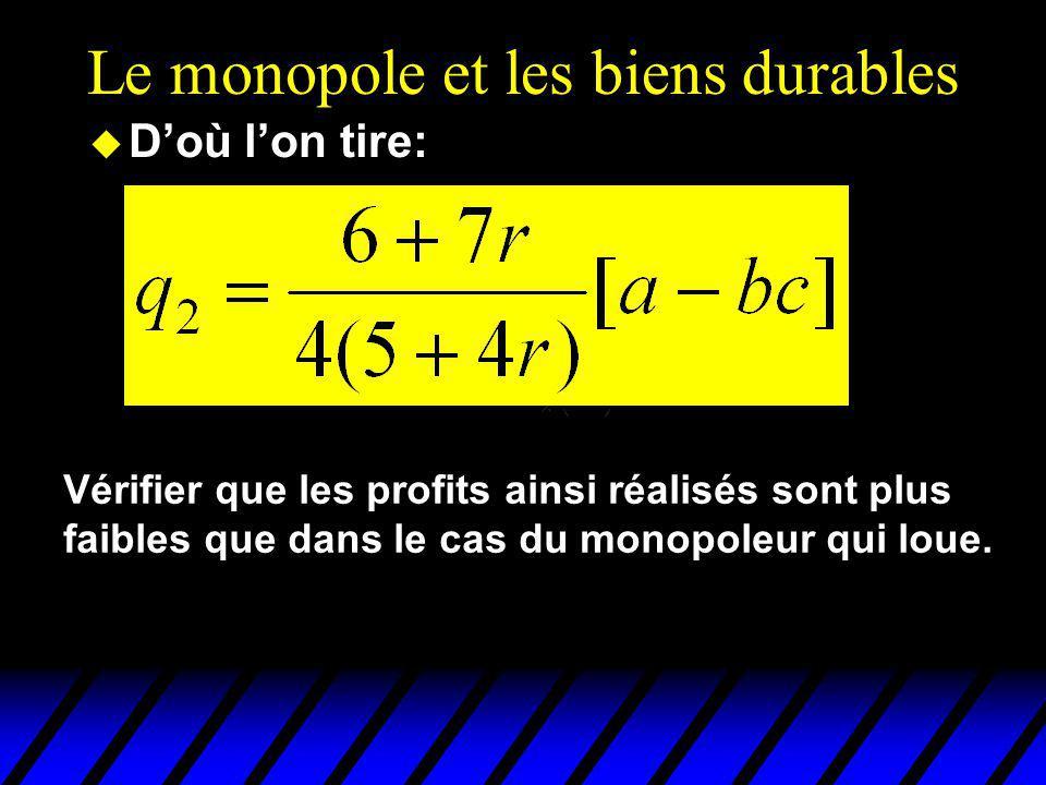 Le monopole et les biens durables u Doù lon tire: Vérifier que les profits ainsi réalisés sont plus faibles que dans le cas du monopoleur qui loue.