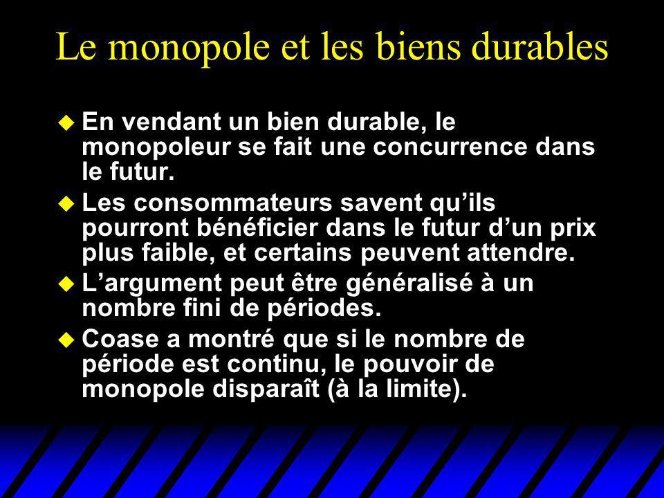 Le monopole et les biens durables u En vendant un bien durable, le monopoleur se fait une concurrence dans le futur. u Les consommateurs savent quils