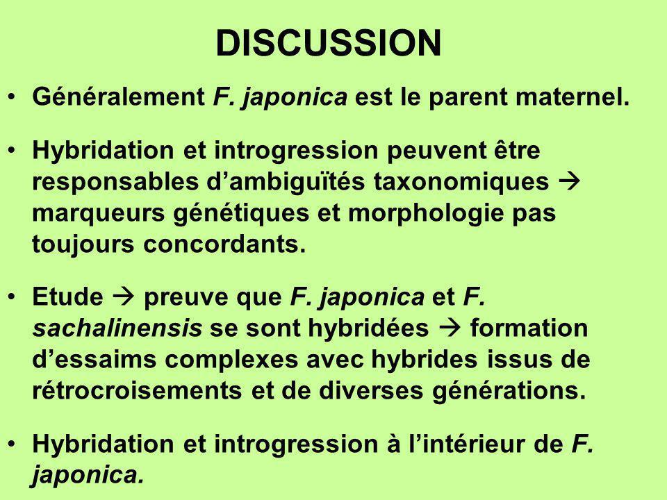 DISCUSSION Généralement F. japonica est le parent maternel. Hybridation et introgression peuvent être responsables dambiguïtés taxonomiques marqueurs