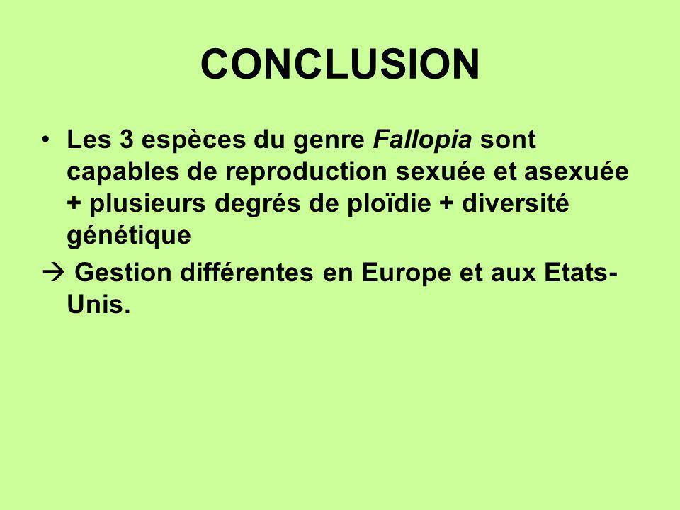 CONCLUSION Les 3 espèces du genre Fallopia sont capables de reproduction sexuée et asexuée + plusieurs degrés de ploïdie + diversité génétique Gestion
